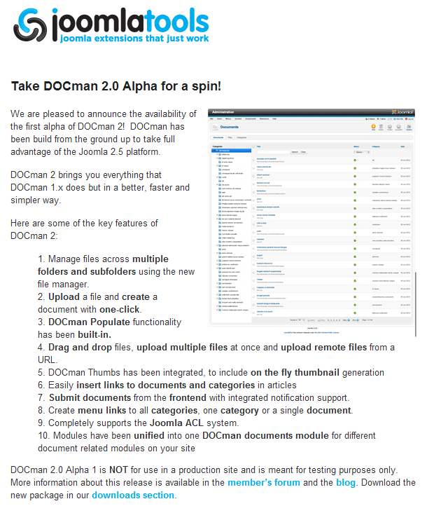 joomlatools docman 2.0 alpha1 announcement